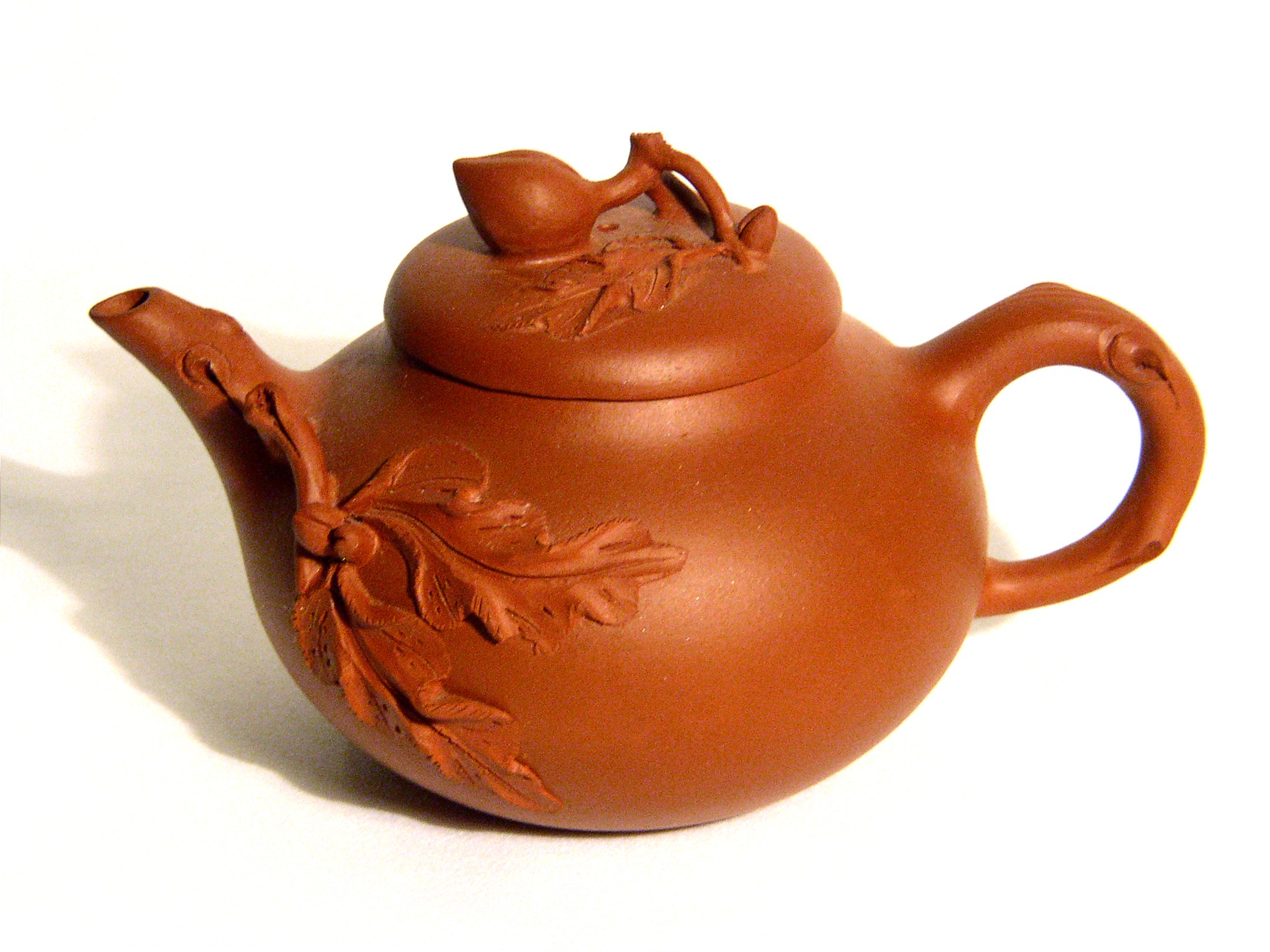 Yixing / Purple Clay Teapot - Buds and Leaves