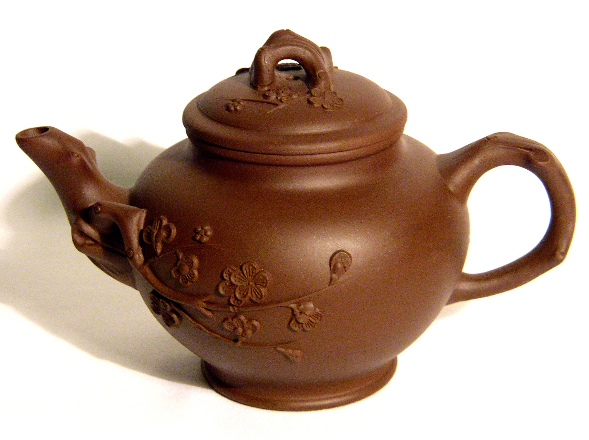 Yixing / Purple Clay Teapot - Brown Blossoms
