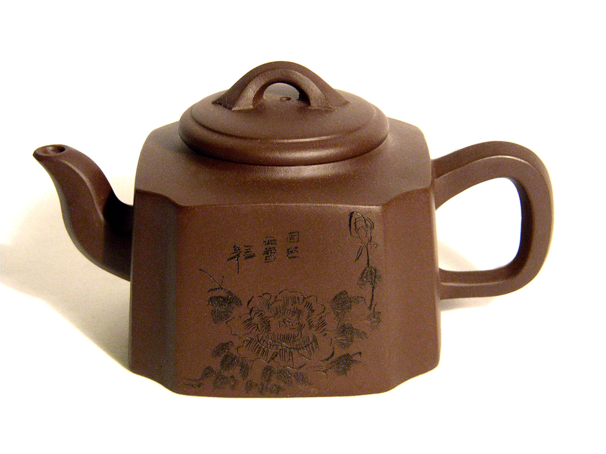 Yixing / Purple Clay Teapot - Etched Rose